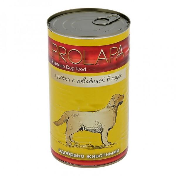 Prolapa. Полноценный консервированный корм для взрослых собак с говядиной (1240г).