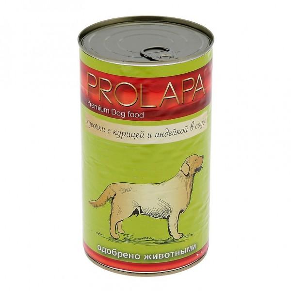 Prolapa. Консервированный корм для взрослых собак с курицей и индейкой (1240г).
