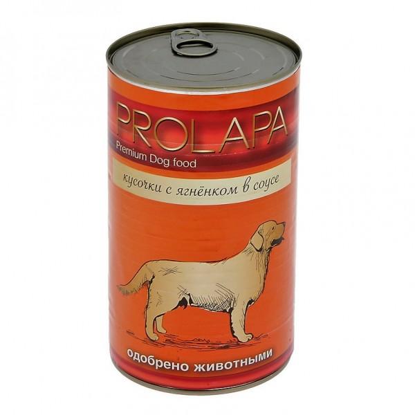 Prolapa. Полноценный консервированный корм для взрослых собак с ягненком (1240г).