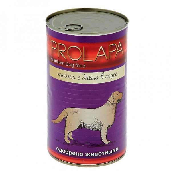 Prolapa. Полноценный консервированный корм для взрослых собак с дичью (1240г).